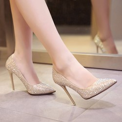 Giày Cưới Đính Đá Sang trọng Cao gót 10cm