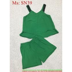 Sét áo 2 dây phối ren kiểu tầng và quần short xinh đẹp SN39