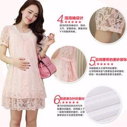 Đầm bầu ngắn tay, thiết kế phối ren thuần màu, mẫu nữ tính nhẹ nhàng