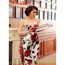 Đầm body dự tiệc cúp ngực vải in hoa hồng đẹp sang trọng DOC179