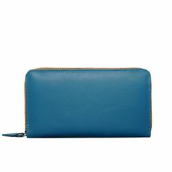 Ví nữ cầm tay da bò thật ELMI khóa kéo ngoài màu xanh biển EVW03-2