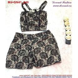 Set áo 2 dây quần short phối ren trẻ trung sành điệu SN41