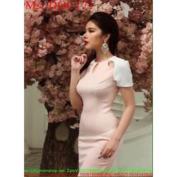 Đầm body hồng phối tay con trắng thời trang duyên dáng DOC171