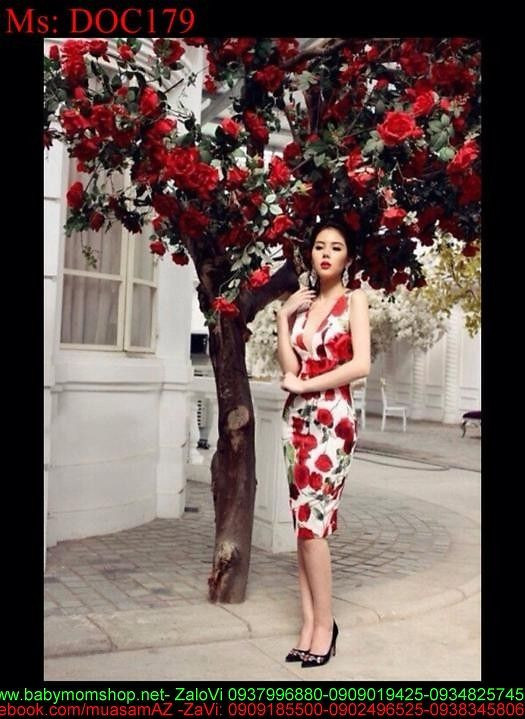 Đầm body dự tiệc cúp ngực vải in hoa hồng đẹp sang trọng DOC179 2