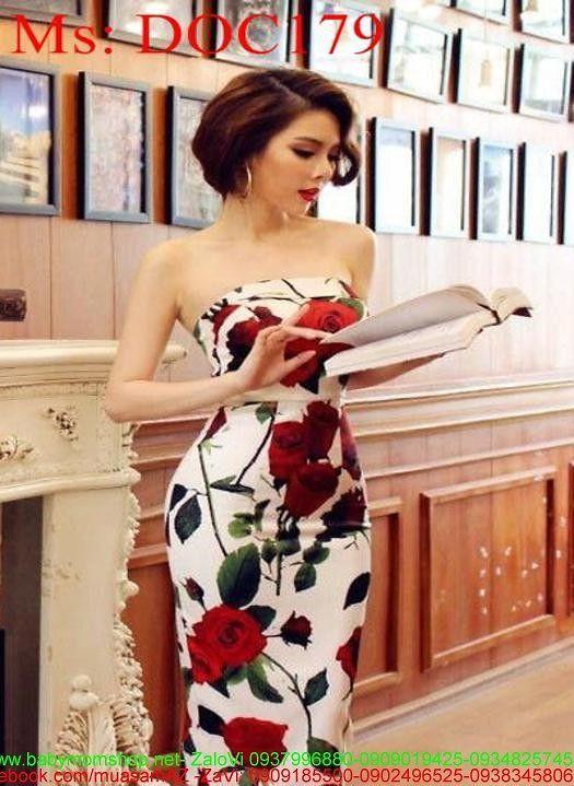 Đầm body dự tiệc cúp ngực vải in hoa hồng đẹp sang trọng DOC179 1