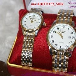 Đồng hồ tình nhân inox Longin mặt số sang trọng DHTN152