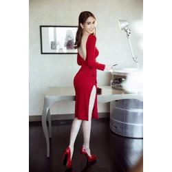 Váy hở lưng chữ V Ngọc Trinhthiết kế xẻ tà ôm body đẹp M31023D