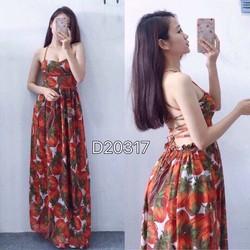 Đầm maxi hoa đan dây lưng