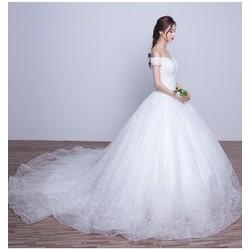 Áo cưới công chúa, đuôi dài trắng, trễ vai - M547