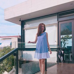 Đầm suông sọc xanh trắng đơn giản, dễ thương