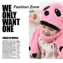 Bộ nón và khăn lông Hàn Quốc cho bé set nón khăn Panda mùa đông