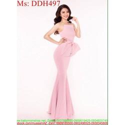 Đầm dạ hội cổ yếm đuôi cá phối nơ to xinh đẹp duyên dáng DDH497