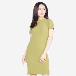 Áo váy đầm len mỏng dáng form dài midi ngắn tay cổ tròn DAM 0061 LTGR