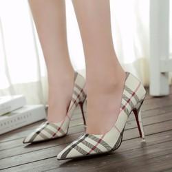 Giày Cao Gót Kẻ Caro Mũi Nhọn Hàn Quốc GCG01