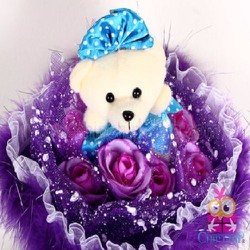Hoa Gấu Nơ Xanh Chấm Bi