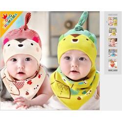 Set mũ ngủ kèm yếm cotton hai lớp cho bé