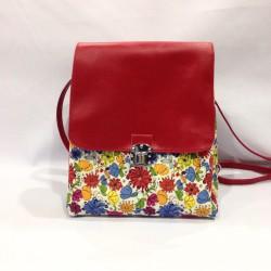 Balo thời trang nữ hoạ tiết hoa phối đỏ