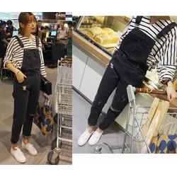 Quần yếm Jean dài rách màu đen