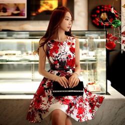 Đầm xòe hoa đào xinh xắn - NR54