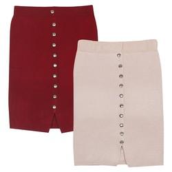Bộ 2 Chân váy bút chì len ngắn xẻ cúc co giãn ZENKO 015 DR NU