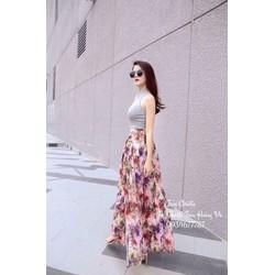 Sét áo thun 3 lỗ - chân váy hoa xẻ xinh iu
