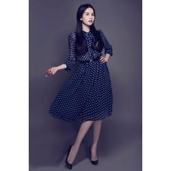 Đầm Xòe Vintage Chấm Bi Tay Dài Giống Ngọc Trinh