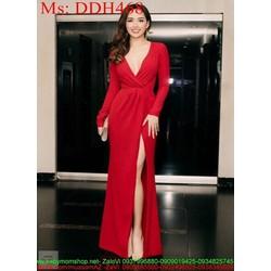 Đầm dạ hội đỏ dài tay cổ V kiểu xẻ đùi quyến rũ và sang trọng DDH468