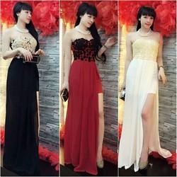 Đầm maxi cúp ngực đính hoa nổi Trang Apple