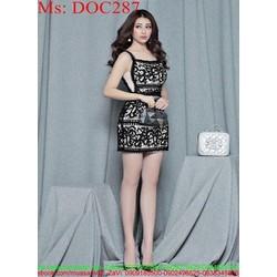 Đầm ôm dự tiệc 2 dây ren hoa văn sang trọng có lót trong DOC287