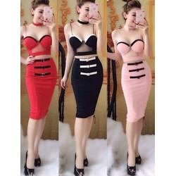 Set váy cúp ngực phối lưới sexy