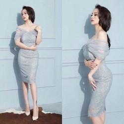 Đầm body ren nhũ kim sa - 6038.DZO