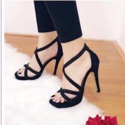 giày cao gót quai chéo đính hạt đá