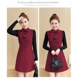 Đầm dạ xòe phối tay len - hàng nhập Quảng Châu