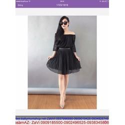Sét áo ren bẹt vai ngang dài tay và chân váy xòe xinh SEV100