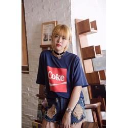 XB 1233 - Áo thun nữ form rộng in chữ Coke