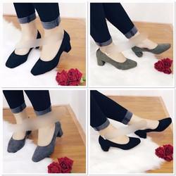 giày gót vuông bít mũi cao 5cm