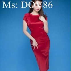 Đầm body dự tiệc thiết kế đơn giản chất liệu phi bóng DOV86