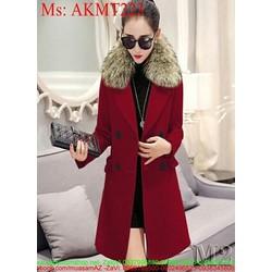 Áo khoác dạ nữ công sở phối cổ lông sành điệu và thời trang AKMT223