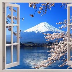 Tranh dán tường cửa sổ 3D cảnh xuân núi Phú Sĩ VTC VT0035