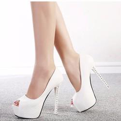 Giày cao gót 14 phân gót đính đá hở mũi màu trắng