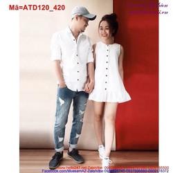 Set áo váy đuôi cá màu trắng tinh khôi cho đôi tình nhân ATD120