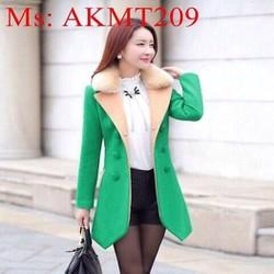 Áo khoác dạ nữ tai dài có cổ lông phong cách hàn quốc AKMT209
