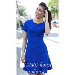 Đầm xanh coban xòe