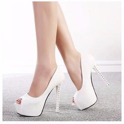 Giày cao gót 14 phân gót đính đá hở mũi