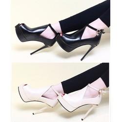 Giày cao gót 12 phân trơn cut out hở mũi