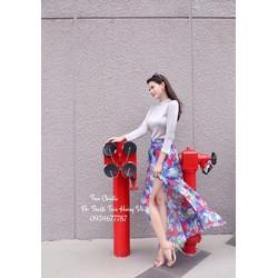 Sét áo tay dài + chân váy hoa xẻ cực hot