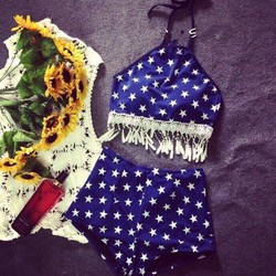 Set Bikini thun bơi cao cấp yếm sao evabkn187