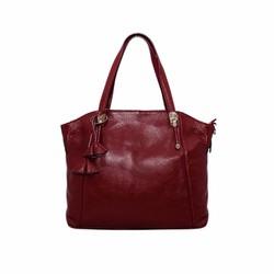 Túi xách nữ da bò thật cao cấp ELMI màu đỏ đô ETM531