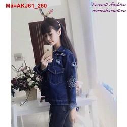 Áo khoác Jean nữ tay dài rách phối túi xanh đậm AKJ61