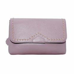 Túi đeo chéo nữ da bò thật cao cấp ELMI màu hồng nhạt ETM533